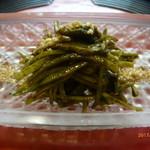 京料理 かじ - きゅうりとセロリと蒸しアワビの肝酢和え