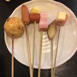 京そば処 志乃崎 - たこ焼き、ウインナー、みょうが、ベーコンチーズ、等