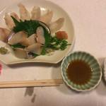 古長 - コチとアワビのお刺身♫コチはポン酢で、アワビは醤油で( ^ω^ )
