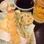 天丼てんや - 天ぷら&生ビールセット