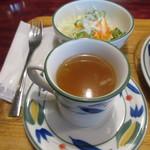 伯爵邸 - サラダとコンソメスープ