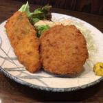 舟よし - ささみしそ巻フライとハムカツセット(今週のサービス定食単品)
