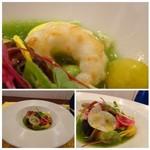 レストラン スーリール - *ラングスティーヌ(手長海老)やサザエもいい味わいですが、 胡瓜ソースがサッパリした味わいでよく合い美味しい。