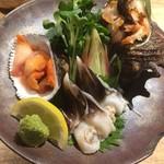 貝料理専門店 貝しぐれ - 刺身三種盛り(赤貝、とり貝、サザエ) 鮮度抜群っ☆☆☆ 2017/07/09