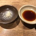 貝料理専門店 貝しぐれ - 刺身の醤油&梅塩 2017/07/09