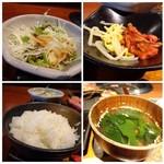 BAKURO - *ご飯・・以前は美味しくないイメージがありましたが、久しぶりに頂くとツヤがあり美味しい品でしたね。お代わり可能。 *野菜サラダ・・ほぼキャベツ。 *もやしナムルとキムチ。キムチは辛目。 *わかめスープ。