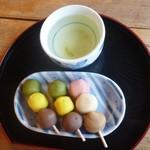 城山荘 - 城山荘@松山城 お団子セット+坊ちゃんだんご