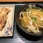 Hanamaruudon - 「げそ天」と「かけ」小!             天ぷらの下足は大振りですが、硬い。。             うどん&出汁は美味しいです。