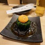 麺酔い すする 結庵 - ニラと卵黄のおひたし 410円