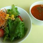 パークサイドカフェ - サラダとミネストローネスープ