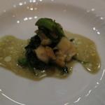 f - 料理写真:サザエと空芯菜のペペロンチーノ2