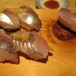 71818884 - あじ寿司。いくつか食べてしまった