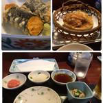 天ぷら新宿つな八 - この日の突き出しは鰯煮付けと冬瓜胡麻ダレ掛けから一品選択。私は冬瓜を。赤いおろしは紅葉ではなくトマト。