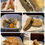 天ぷら新宿つな八 - 活車海老、稚鮎と烏賊、雲丹海苔巻き、茄子と長芋、小海老かき揚げ、穴子