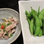 もつ処 堂平 - 酢モツと枝豆。