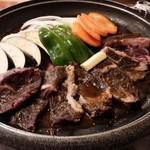 海宴丸 - 牛ハラミと季節野菜の陶板焼き