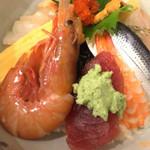 お食事処 さくら - この日は、海老が3種特に殻付きのこれは美味しかった。盛りつけた魚は、写真の反対側に美味い地魚がありました。写真写ってなかった。