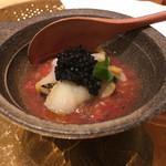 五十嵐 - 日高のマツブ貝と煮詰めた甘いトマト、キャビア