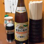 鳥増 - 2017.8 瓶ビール大(540円)一番搾り、きんぴらごぼう(お通し)