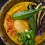 71867625 - 野菜カレーうどん:味玉:ご飯セット