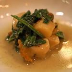 f - サザエと空芯菜のペペロンチーノ