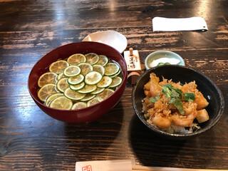 土山人 北浜店 - すだちそばとミニかき揚げ丼セット