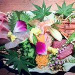 北新地個室 松六 - 鮮魚のお造り5点盛合せ(海鮮割烹 極上コース/料理10品)