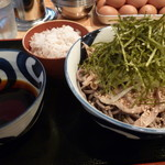 71909921 - 肉そば(冷)特大&麦飯