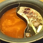 しゃぶしゃぶ温野菜 - 四川豆板醤の旨辛火鍋だし/12種の薬膳だし 薬膳だしが本格的で美味しい。