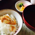 日本料理松風庵 - 白エビの御飯と香の物、御味噌汁