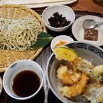 口福 - ランチ せいろ、天丼、小鉢、お蕎麦のデザート 1,400円