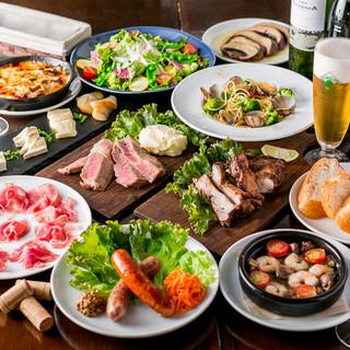 4,500円のコース料理(2時間飲み放題付)