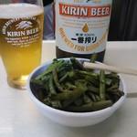 江戸っ子 - わらび 180円 と瓶ビール 550円