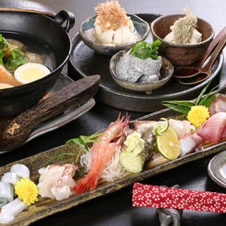 ◆和食の王道【お造り盛り合わせ】は「たのしや」流に一工夫◆