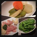ローストビーフ&チーズフォンデュ食べ放題ダイニングビアバー ウォルトンズ  - 生ハム&チーズ・ピクルス・枝豆
