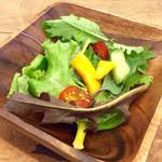 エスラスカフェ - カレーにはサラダが付いてくる。ドレッシングは最小限なので素材感があってヘルシー。