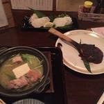 71996638 - お通し+長芋刺身ワサビ+オシャモジ焼味噌