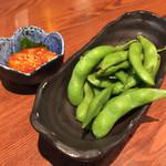 こがね屋 - 枝 豆&エンガワユッケ風