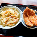 上野製麺所 - かけそのまま+かき揚げとチキンカツ