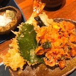 72005202 - 鴨汁天ざるの、お天ぷら( ¨̮ )