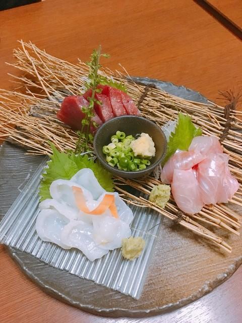 旬菜家 凪 - 本日のお刺身三点盛り(生鰹、金目鯛、生蛸)