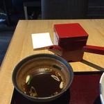 松玄 - 肉そばセット1,000円の蕎麦湯