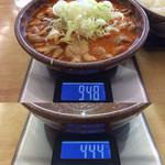 もつ煮屋 日の出食堂 - 「もつ煮(おかず大盛)」総重量(実測値)504g。