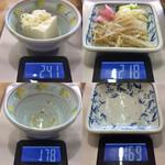 もつ煮屋 日の出食堂 - 「冷や奴」総重量(実測値)63g、「漬物 3種類(モヤシナムル、白菜漬物、桃色大根煮)」総重量(実測値)49g。