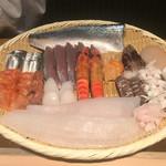 鮨松波 - 今夜の笊。鮪や穴子は冷蔵庫