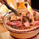 立ち食い焼肉 と文字 -