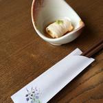 割烹 七草 - お通しのトウモロコシの湯葉巻き('17/08/25)