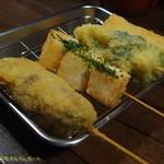 串かつ龍 - 今度は左からから肉詰めピーマン、山芋、ブロッコリー、海老。(2017/7/22)