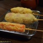 串かつ龍 - 紅生姜、豚ばらチーズ、鶏もも。(2017/7/22)