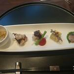 スーツァンレストラン 陳 - チャイニーズオードブル(クラゲ、蛸、よだれ鶏、南瓜、豚)